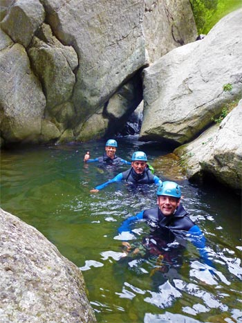 Un trou dans la descente de canyoning du Llech